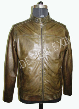 CLASSIC BIKER JKT,leather-lamb oily pull up, col- olive