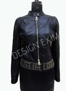 CODE 11 STUDDED LEATHER JACKET
